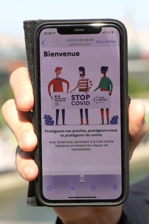 L'application StopCovid sur un téléphone, le 6 juin 2020 [Ludovic MARIN / AFP/Archives]