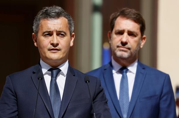Gérald Darmanin et Christophe Castaner lors de la passation le 7 juillet 2020 [Thomas SAMSON<br />  / AFP/Archives]