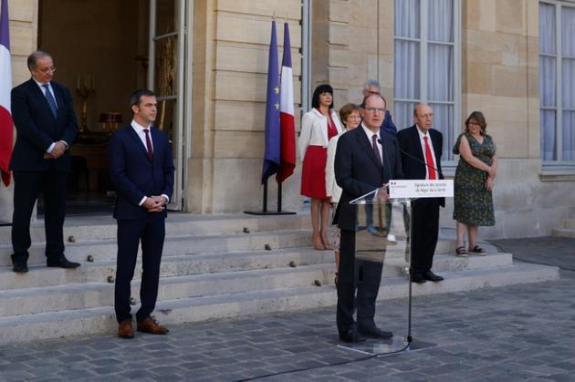 Le Premier ministre Jean Castex s'exprime après la signature des accords du Ségur de la santé, le 13 juillet 2020 à Paris [Thomas SAMSON<br />  / AFP]