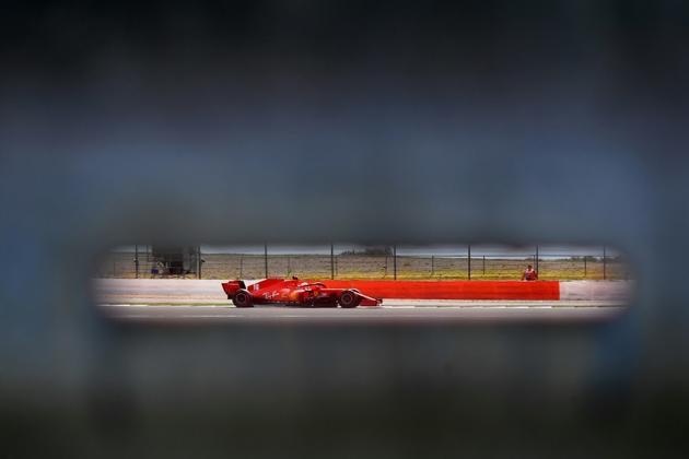 Charles Leclerc (Ferrari) lors des qualifications du GP de Grande-Bretagne sur le circuit de Silverstone, le 1er août 2020 [Ben STANSALL / POOL/AFP]