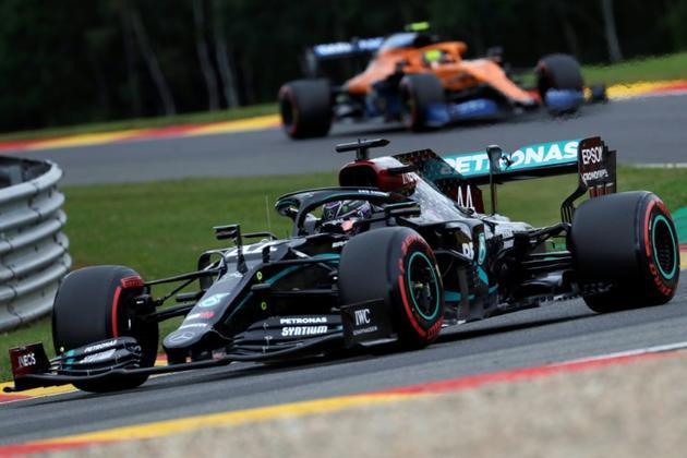 Lewis Hamilton à bord de sa Mercedes lors des qualifications du GP de Belgique, le 29 août 2020 à Spa-Francorchamps  [Stephanie Lecocq / POOL/AFP]
