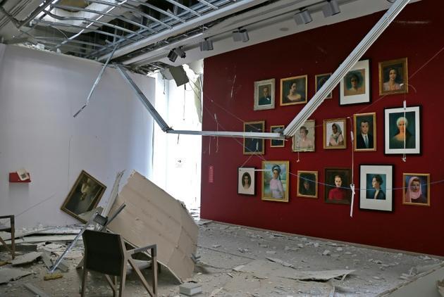 Photo fournie par le musée Sursock montrant une salle d'exposition ravagée par l'explosion du port de Beyrouth, le 8 août 2020 [- / Sursock Museum/AFP]