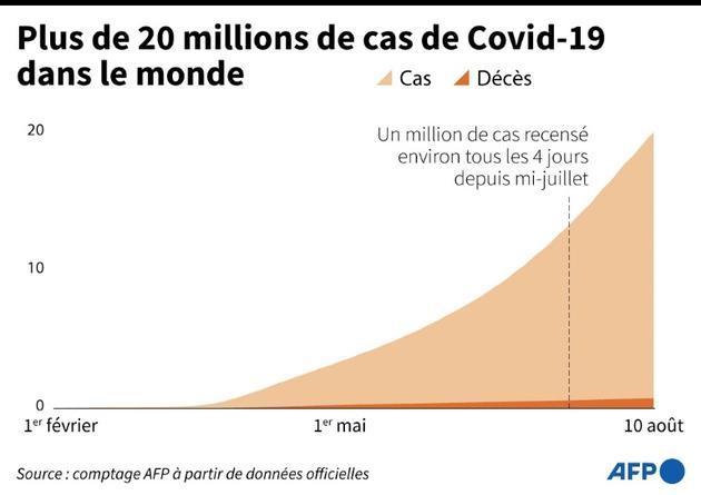 Plus de 20 millions de cas de Covid-19 dans le monde [Robin BJALON / AFP]