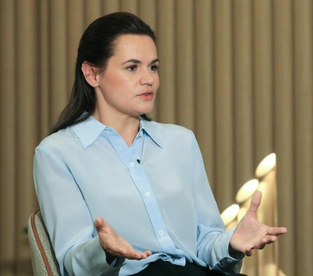 La cheffe de file de l'opposition bélarusse, Svetlana Tikhanovskaïa lors d'un entretien à l'AFP, le 22 août 2020 à Vilnius [PETRAS MALUKAS / AFP]