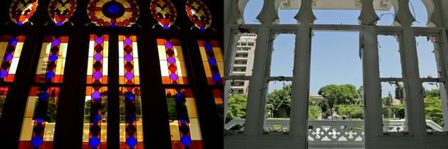 Les fenêtres du musée Sursock avant et après l'explosion du port de Beyrouth, le 8 août 2020 [JOSEPH EID, ANWAR AMRO / AFP]