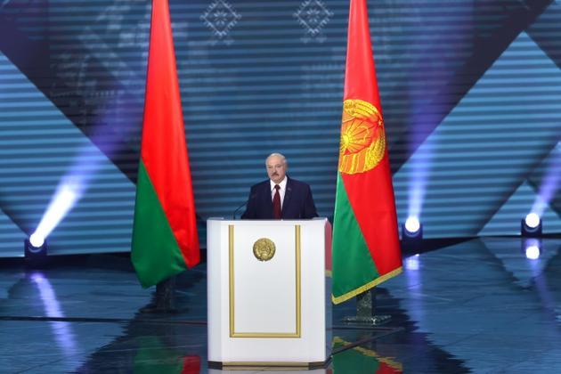 Discours du président du Bélarus Alexandre Loukachenko à Minsk, le 4 août 2020 [Andrei POKUMEIKO / BELTA/AFP/Archives]