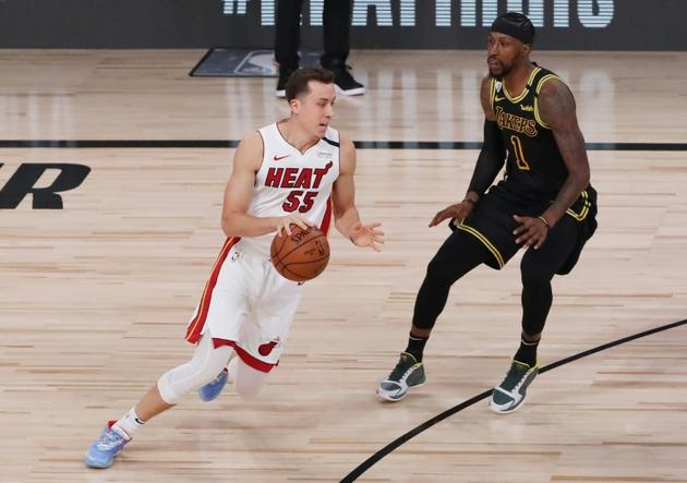 Duncan Robinson pour le Heat de Miami, vainqueur du match 5 de la finale NBA contre les Lakers de Los Angeles, le 9 octobre 2020 à Lake Buena Vista, en Floride [SAM GREENWOOD / GETTY IMAGES NORTH AMERICA/AFP]