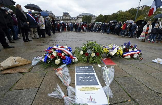 Rassemblement le 18 octobre 2020 place de la Liberté à Lille pour rendre hommage à Samuel Paty, le professeur d'histoire décapité dans les Yvelines [FRANCOIS LO PRESTI / AFP]