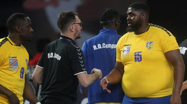 Gauthier Mvumbi a inscrit quatre buts lors du premier match du Congo face à l'Argentine.